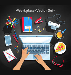 top view set of workplace vector image