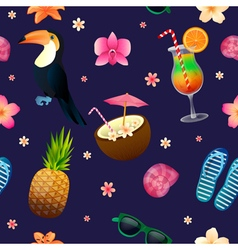 Tropical Background Seamless Pattern with Cocktail vector
