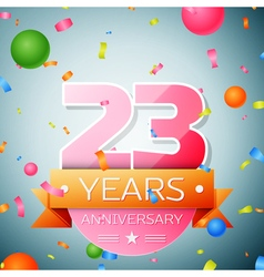 Twenty three years anniversary celebration vector image