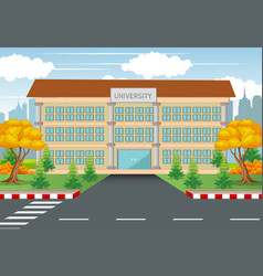 University college building with road and town vector