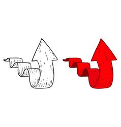 Up arrow hand drawn sketch vector