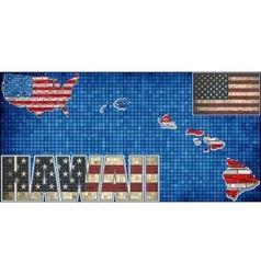 USA state of Hawaii on a brick wall vector