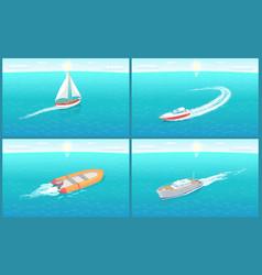 Water transport sailing boat motor set vector