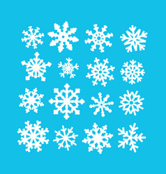 white abstract snowflakes collection on blue vector image