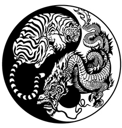 yin yang dragon and tiger black white vector image
