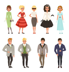 Young men and women wearing vintage clothing set vector