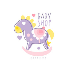 baby shop logo design emblem with rocking horse vector image vector image