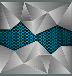 blue metal perforated background with brushed vector image