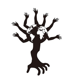 hand tree growing from earth vector image vector image