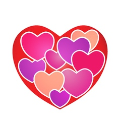 Hearts on Heart vector image
