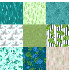 seamless pattern nature leaves vector image vector image