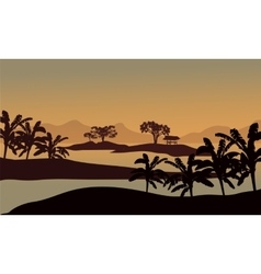 Silhouette of banana trees in riverbank vector image