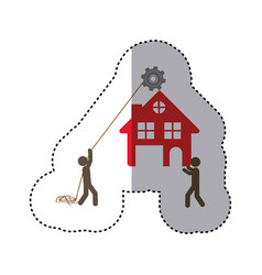 sticker colorful workers with pulley holding small vector image