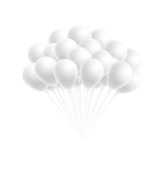 bunch birthday or party white balloons vector image