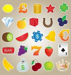 Slot Machine Icons Set vector image vector image