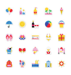 summer and holidays icons 11 vector image vector image