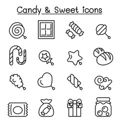 candy sweet icon set in thin line style vector image vector image