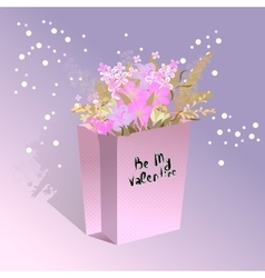 Handdrawing lettering Be My Valentine with bouquet vector image vector image