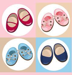 Kids shoes cute set collection colorful vector