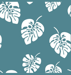 summer seamless pattern with white monstera palm vector image vector image