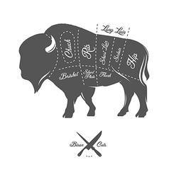 Vintage butcher cuts of bison buffalo scheme vector image vector image