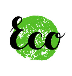 eco sign hand drawn brush lettering vector image