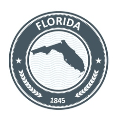 Florida stamp with state map contour vector image vector image