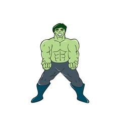 Green Angry Man Clenching Fist Cartoon vector image vector image