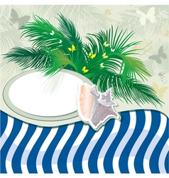 Grunge summer holiday background with palm tree vector image