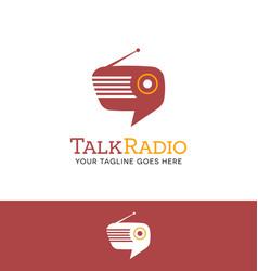 retro radio shaped talk bubble logo vector image vector image