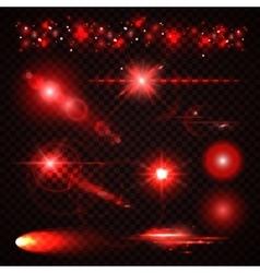 Set of red Light effects spotlights flash stars vector image vector image
