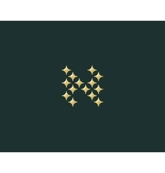 Stars letter N logotype Luxury abc icon vector image vector image
