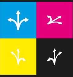 three-way direction arrow sign white icon vector image vector image