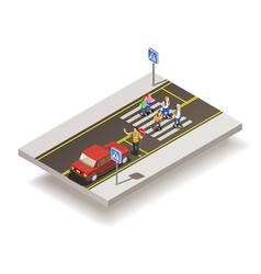 zebra crossing road composition vector image