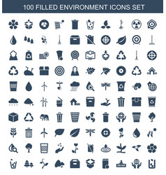 100 environment icons vector