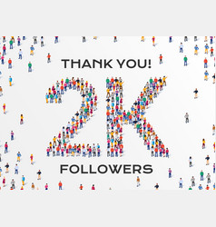 2k followers group business people vector