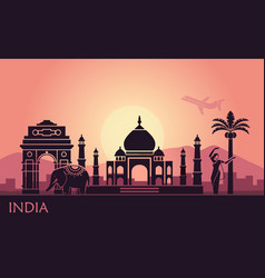 abstract landscape with sights india and a vector image