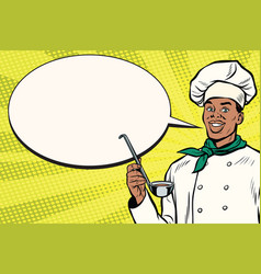 african chef with ladle cartoon bubble vector image vector image
