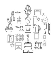 appliances icons set outline style vector image