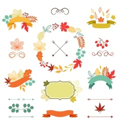 Autumn leaves set wreath ribbons and labels vector