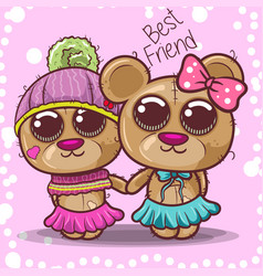 bashower greeting card with bear boy and girl vector image