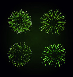 beautiful green fireworks set bright fireworks vector image