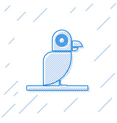 Blue line pirate parrot icon isolated on white vector