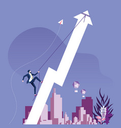 businessman climbing rising arrow success concept vector image