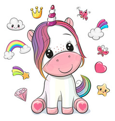 cartoon unicorn and set cute design elements vector image