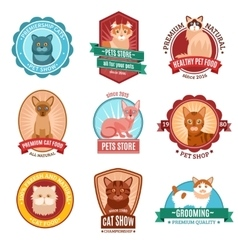 Cats emblem set vector