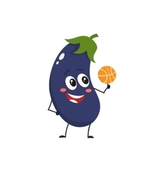 Cheerful smiling eggplant spinning a basketball on vector