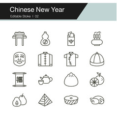 chinese new year icons modern line design for vector image