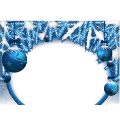 christmas background with baubles and needles vector image