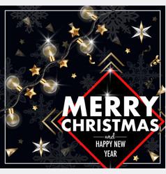 christmas banner or postcard with light bulbs vector image